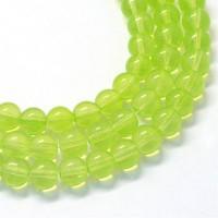 Glass Beads, Peridot Green, 8mm Smooth Round