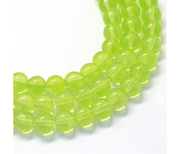 Glass Beads, Yellow Green, 8mm Smooth Round