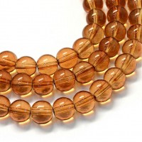 Glass Beads, Tea Brown, 8mm Smooth Round