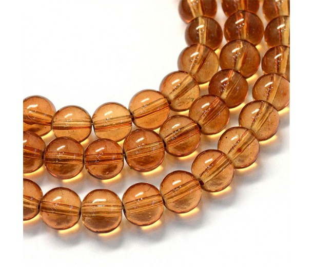 Glass Beads, Tea Brown, 10mm Smooth Round