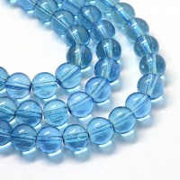 Glass Beads, Denim Blue, 8mm Smooth Round