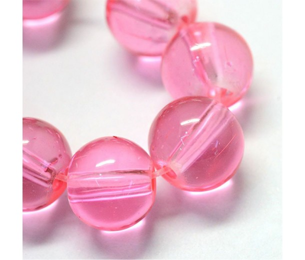 Glass Beads, Neon Pink, 8mm Smooth Round