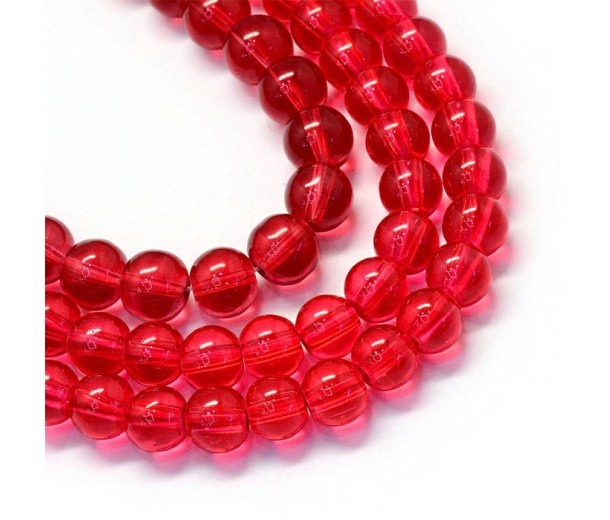 Glass Beads, Cranberry Red, 8mm Smooth Round