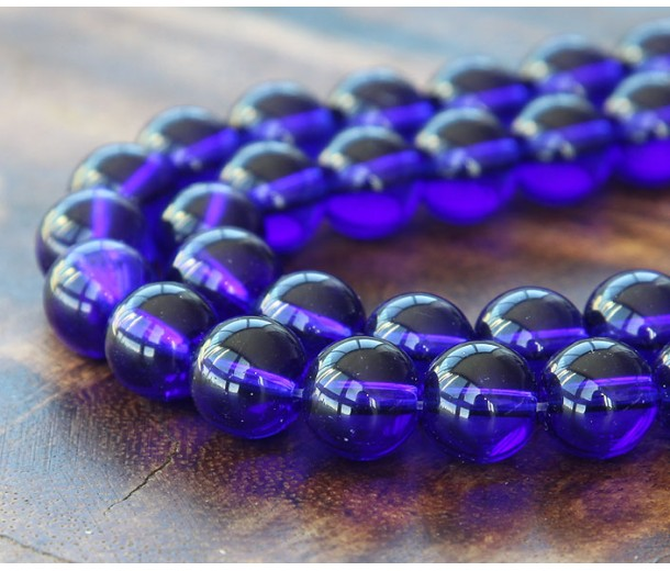 Cobalt Blue Glass Beads, 8mm Smooth Round