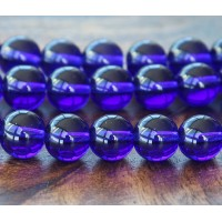Cobalt Blue Glass Beads, 10mm Smooth Round