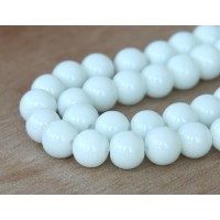 White Glass Beads, 10mm Smooth Round