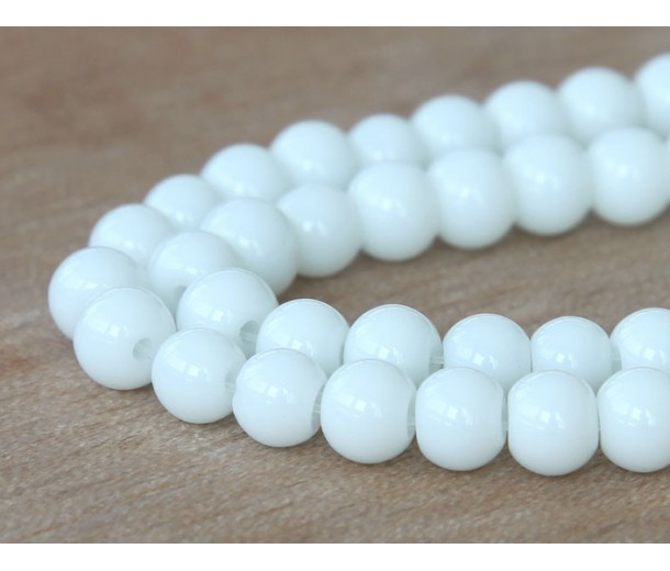 White Glass Beads, 8mm Smooth Round