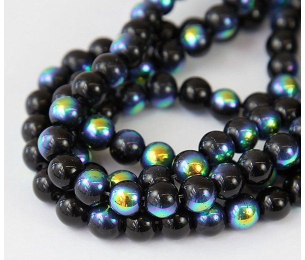 Black AB Glass Beads, 8mm Smooth Round