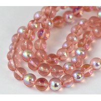 Soft Pink AB Glass Beads, 8mm Smooth Round