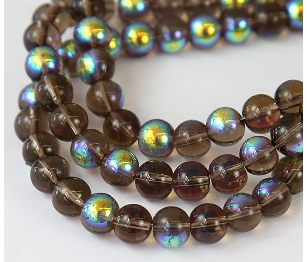 Brown AB Glass Beads, 8mm Smooth Round