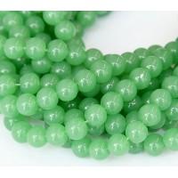 Glass Beads, Milky Aventurine Green, 8mm Smooth Round