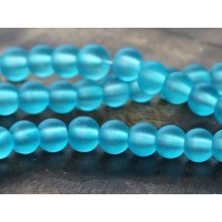 Light Blue Frosted Glass Beads, 6mm Smooth Round