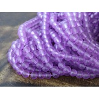 Light Orchid Frosted Glass Beads, 6mm Smooth Round