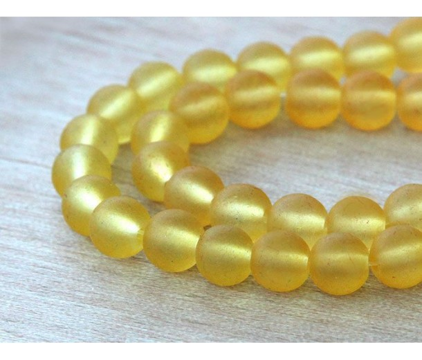 Yellow Frosted Glass Beads, 6mm Smooth Round