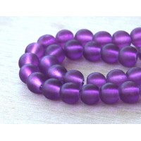 Dark Orchid Frosted Glass Beads, 8mm Smooth Round