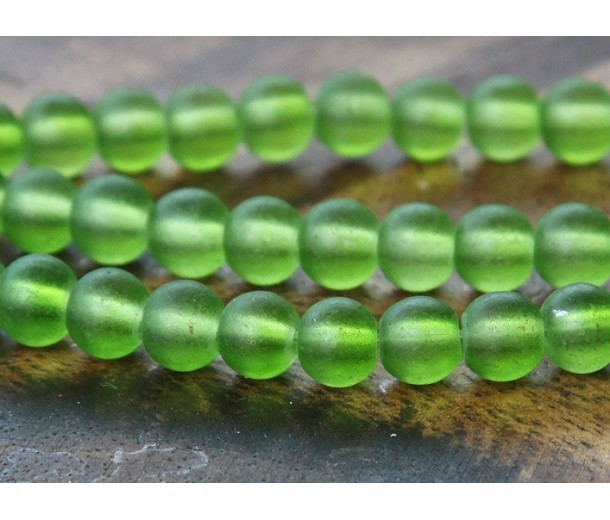 Apple Green Frosted Glass Beads, 6mm Smooth Round