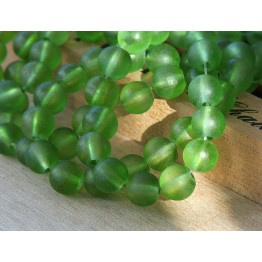Apple Green Frosted Glass Beads, 8mm Smooth Round