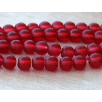 Red Frosted Glass Beads, 8mm Smooth Round
