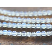Sea Opal Glass Beads, 4mm Faceted Round