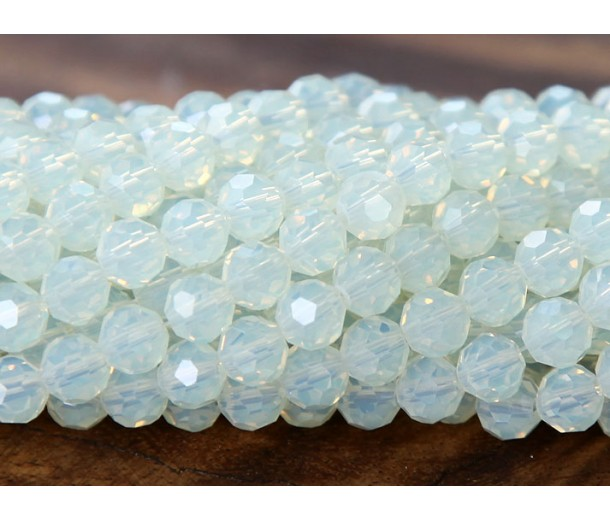 Sea Opal Glass Beads, 6mm Faceted Round