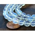 Sea Opal Glass Beads, 8mm Faceted Round