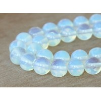 Sea Opal Glass Beads, 10mm Smooth Round