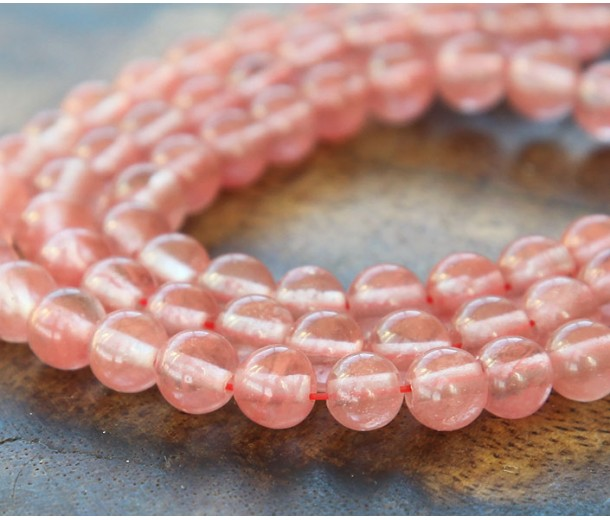 Cherry Quartz Glass Beads, 6mm Smooth Round