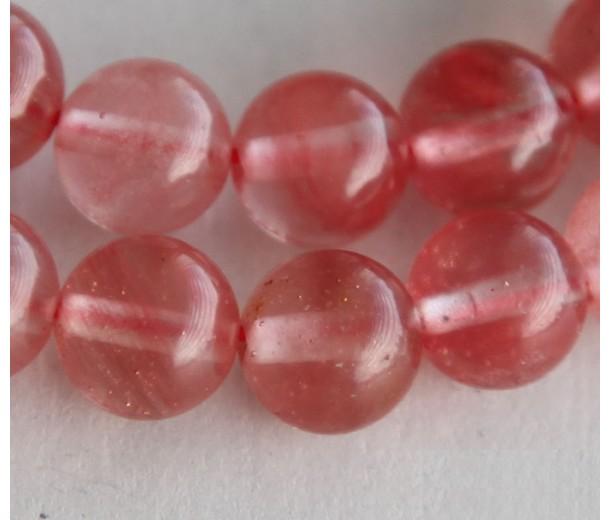 Cherry Quartz Glass Beads, 8mm Smooth Round