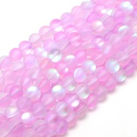 Matte Foiled Crystal Glass Beads, Pink, 10mm Smooth Round