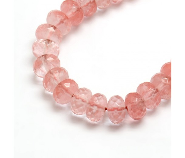 Cherry Quartz Beads, 5x8mm Faceted Rondelle