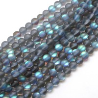 Matte Foiled Crystal Glass Beads, Grey, 8mm Smooth Round