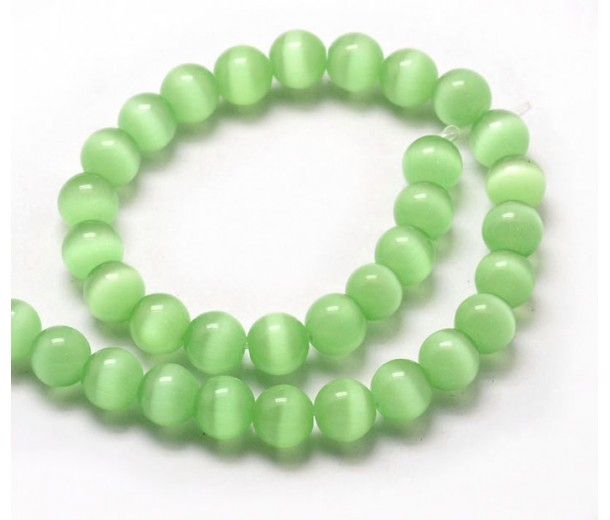 Grass Green Cat Eye Glass Beads, 8mm Smooth Round