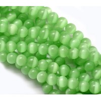 Grass Green Cat Eye Glass Beads, 8mm Smooth Round
