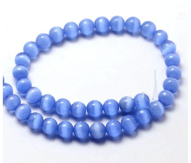 Cornflower Blue Cat Eye Glass Beads, 8mm Smooth Round