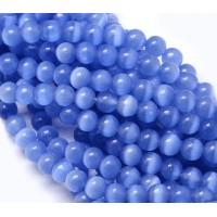 -Cornflower Blue Cat Eye Glass Beads, 8mm Smooth Round