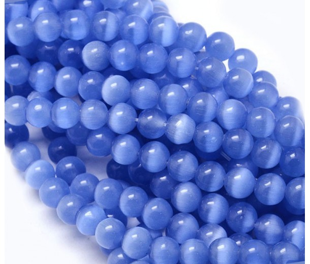 Cornflower Blue Cat Eye Glass Beads, 8mm Smooth Round