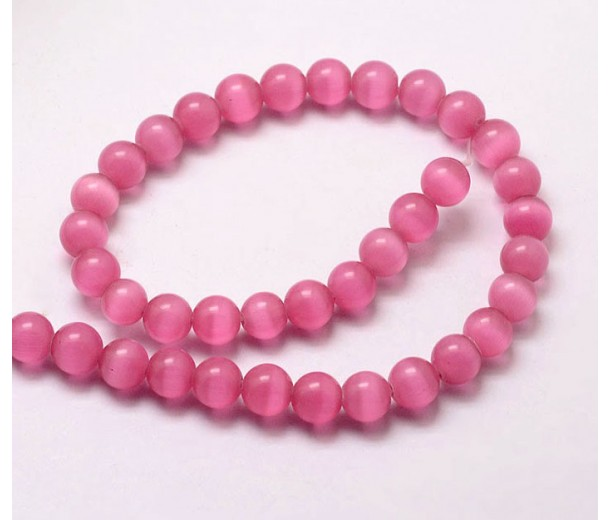 Fuchsia Pink Cat Eye Glass Beads, 8mm Smooth Round