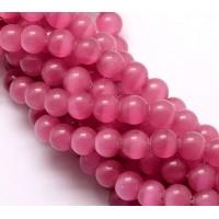Fuchsia Pink Cat Eye Glass Beads, 8mm Smooth Round