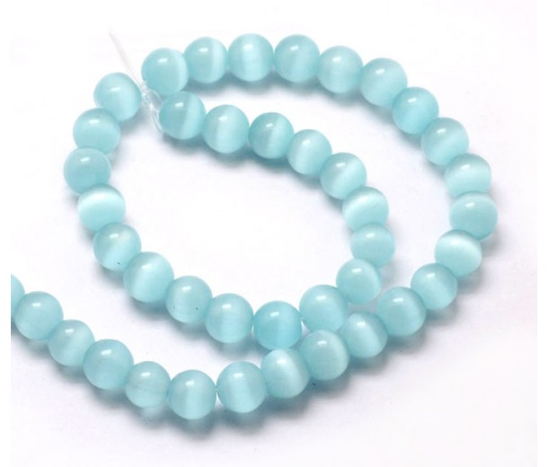 Light Blue Cat Eye Glass Beads, 8mm Smooth Round