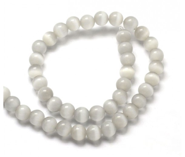 Grey Mist Cat Eye Glass Beads, 8mm Smooth Round