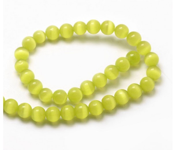 Chartreuse Cat Eye Glass Beads, 8mm Smooth Round