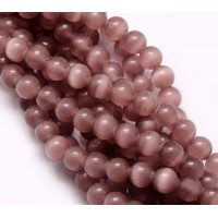 Rose Brown Cat Eye Glass Beads, 8mm Smooth Round