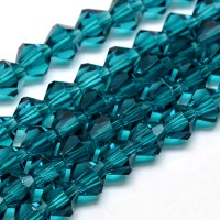 Dark Teal Glass Beads, 6x6mm Faceted Bicone