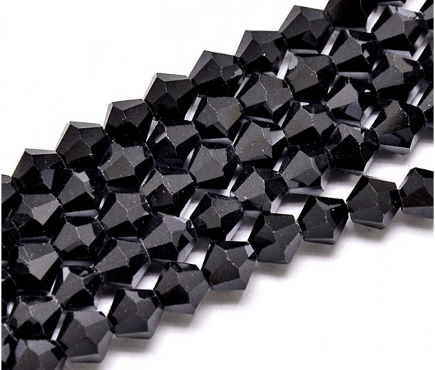 Jet Black Glass Beads, 6x6mm Faceted Bicone