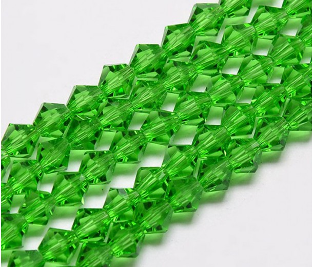 Bright Green Glass Beads, 6x6mm Faceted Bicone