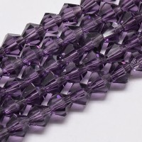 Dark Purple Glass Beads, 6x6mm Faceted Bicone