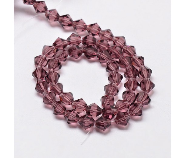 Amethyst Purple Glass Beads, 6x6mm Faceted Bicone