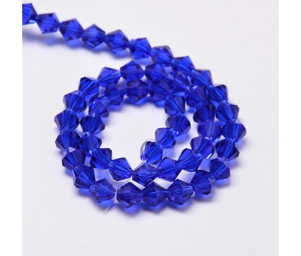 Cobalt Blue Glass Beads, 6x6mm Faceted Bicone