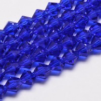 Cobalt Blue Glass Beads, 4x4mm Faceted Bicone