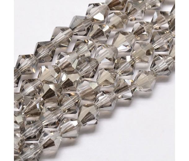 Light Grey Glass Beads, 6x6mm Faceted Bicone